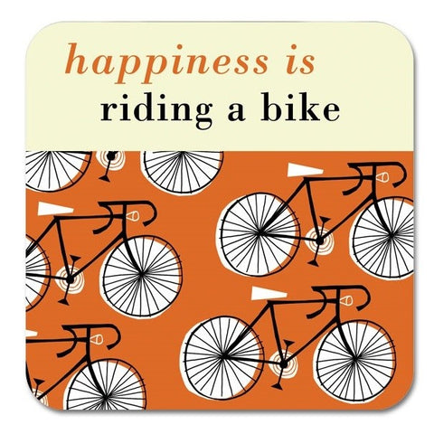 Happiness is Ridng a Bike Coaster in Orange