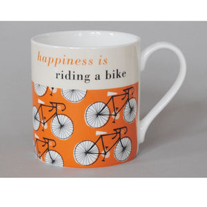 Happiness is Riding a Bike Mug in Orange