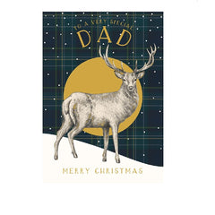 Dad Stag Check Christmas Card