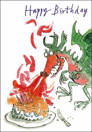 Dragon Breathing on Cake Quentin Blake, All Birthday Cards