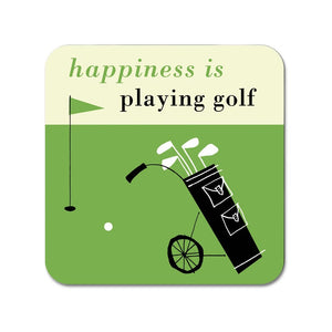 Happiness is Playing Golf Coaster Green
