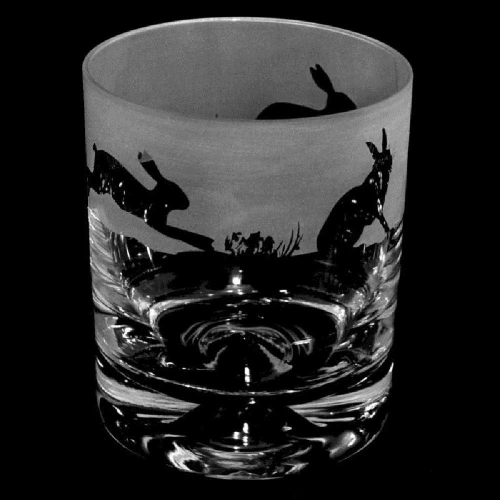 Hares Hand Decorated Glass Whisky Tumbler
