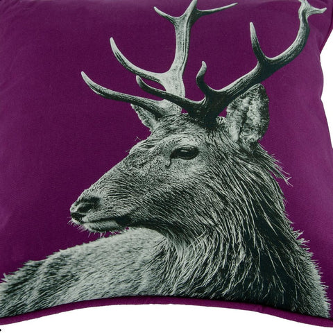 Highland Stag Cushion in Claret