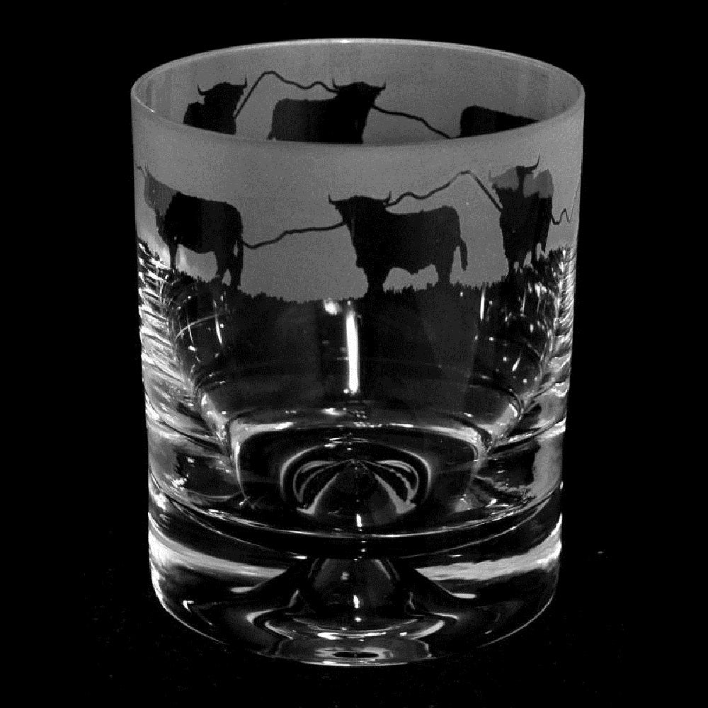 Highland Cattle Hand Decorated Glass Whisky Tumbler