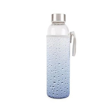 Waterdrops Glass Water Bottle with Neoprene Sleeve