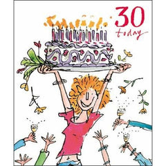 30th Birthday Card Cake by Quentin Blake, Decades birthday cards
