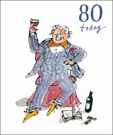 80th Quentin Blake Birthday Card Man with Wine