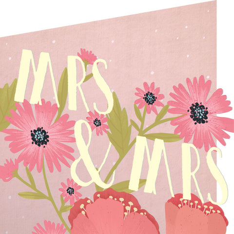 Mrs and Mrs flowers laser cut card