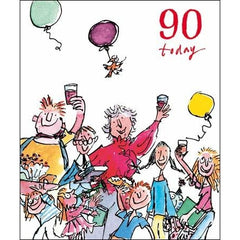 90th - People Celebrating, artwork by Quentin Blake, Decades birthday cards