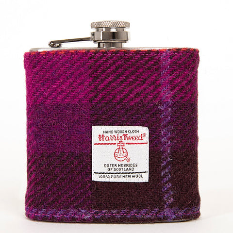 GreenTartan Harris Tweed Hip Flask
