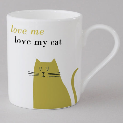Sitting Cat Small Mug in Olive