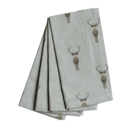 Sophie Allport Highland Stag Set of 4 Napkins, Kitchen Textiles