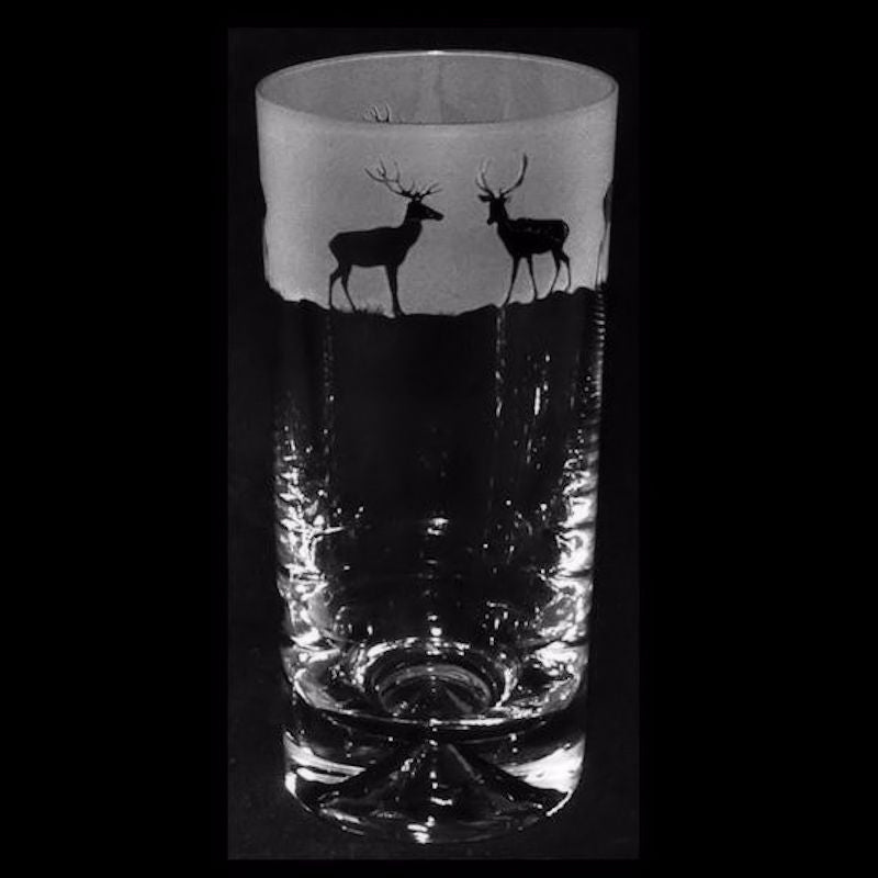 Stags Hand Decorated Glass Highball Tumbler