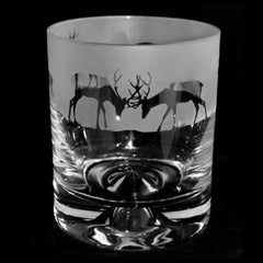 Stags Hand Decorated Glass Whisky Tumbler