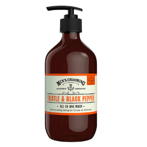 Thistle and Black Pepper All-In-One Wash Pump Bottle.