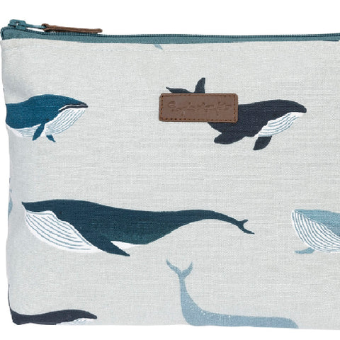 Sophie Allport Whales Cotton Canvas Wash Bag