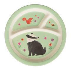 Woodland Friends Kid's Plate, kids eating & drinking