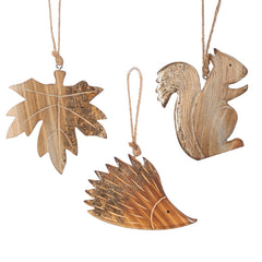 Carved Woodland Decorations Set