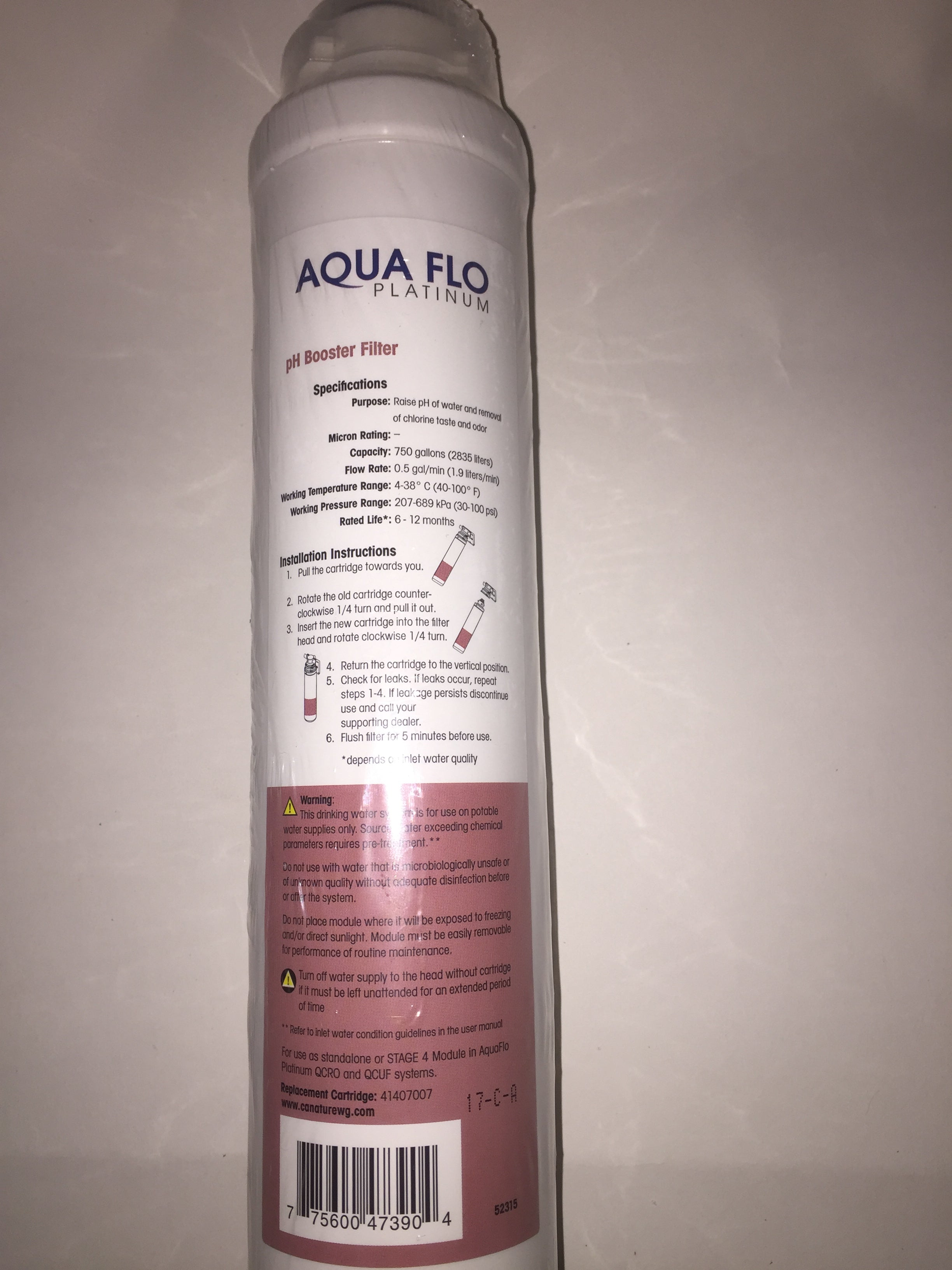 Hydrotech Pura Quick-Change Replacement pH Booster Cartridge Aqua Flo Platinum