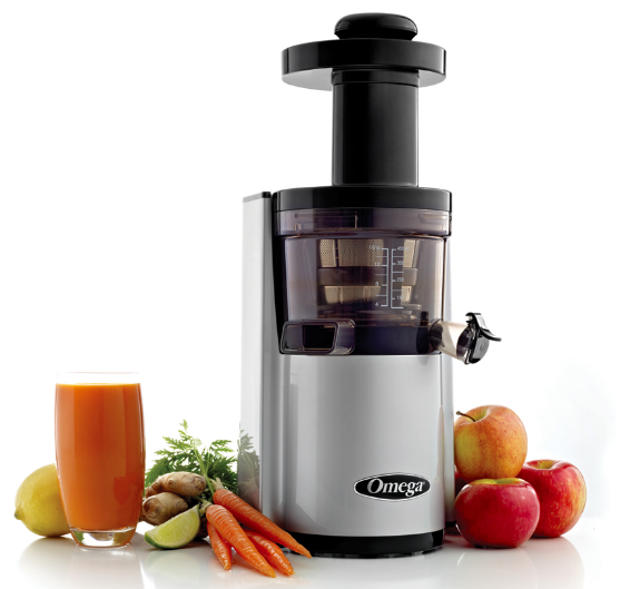 Omega VERT VSJ843RS Juicer Compact Design Round Version Silver New - Healthy Bowls