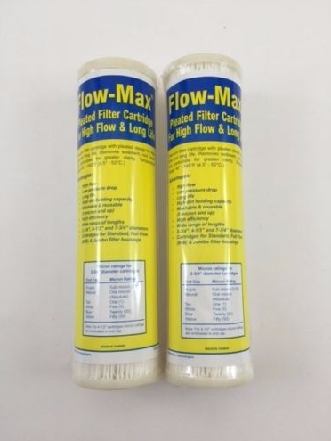 "2PK Flow-Max Pleated 1 Absolute Micron Filter 9.75"" x 2.5"" Remove Cyst FM-1A-975 - Healthy Bowls"