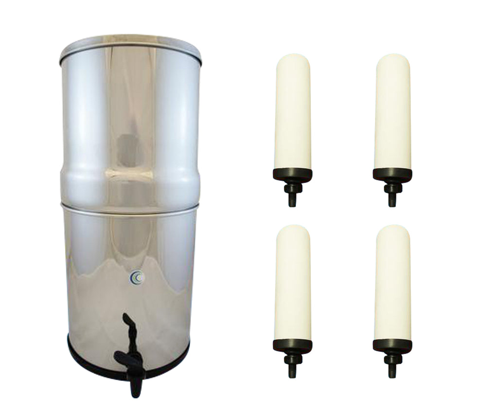 "AquaCera Pioneer SS4 Stainless Steel Gravity Filter with Four CeraPlus Candles 7"" W9371815"