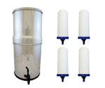 "AquaCera Pioneer SS4 Stainless Steel Gravity Filter w / 4 Imperial CeraMetix Candles 7"" W9371845"