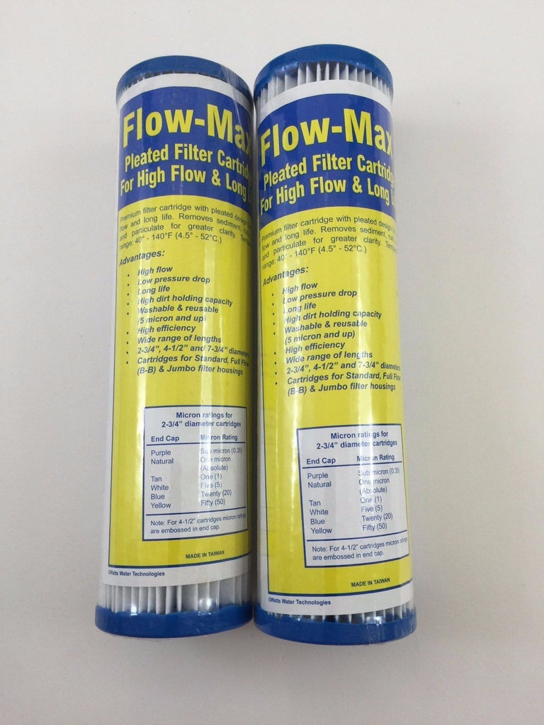 "2 Flow-Max Pleated 20 Absolute Micron Filter 9.75"" x 2.5"" Remove Cyst FM-20-975 - Healthy Bowls"