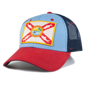 Flatsland Clothing Company LLC - Home Sweet Flats Trucker Hat - Carolina / Navy / Scarlet - Hats
