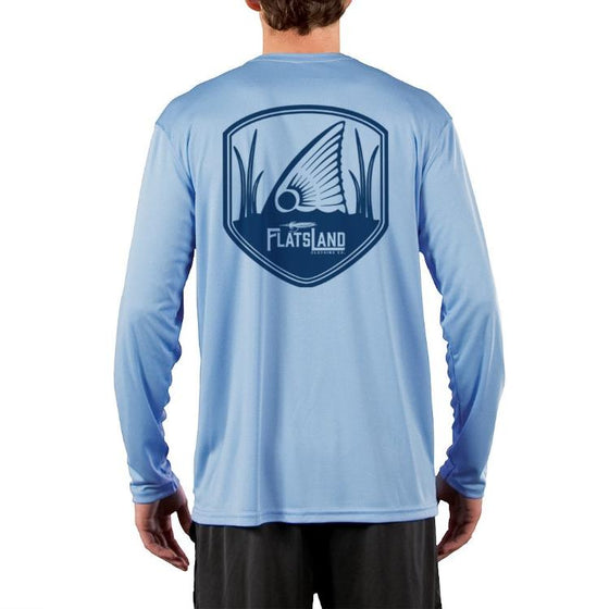 Flatsland Clothing Co. - 'Redfish Tailing' Performance Shirt - Columbia Blue - Performance Shirt