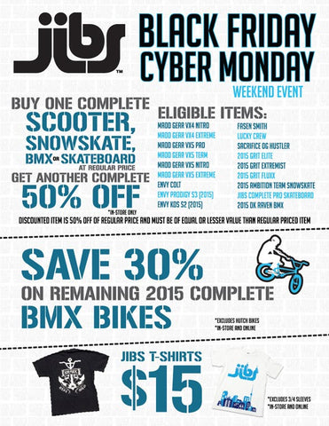 Jibs Action Sports Black Friday/Cyber Monday Sale
