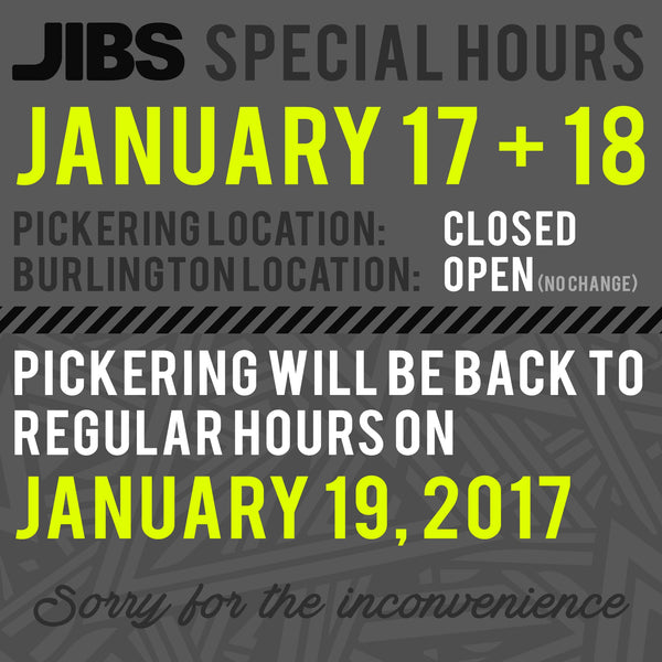 Jibs Special Hours January 2017