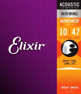 Elixir 11152 Nanoweb Coated 80/20 Bronze 12 Twelve String Acoustic Guitar Strings Light 10-47