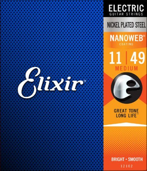 Elixir 12102 Nanoweb Coated Electric Guitar Strings 11-49