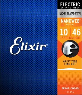 Elixir 12450 Nanoweb Coated Nickel Plated 12 Twelve String Electric Guitar Strings Light 10-46