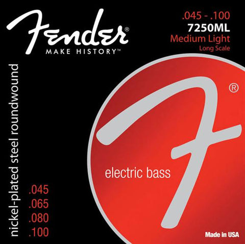 Fender 7250ML Super 7250 Medium Light Electric Bass Guitar Strings Set