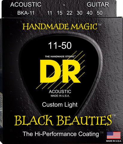 DR K3 Black Beauties Coated Acoustic Guitar Strings BKA-11 Med-Lite 11-50