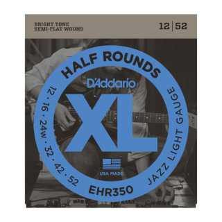 D'Addario EHR350 Half Round Electric Guitar Strings, Jazz Light, 12-52