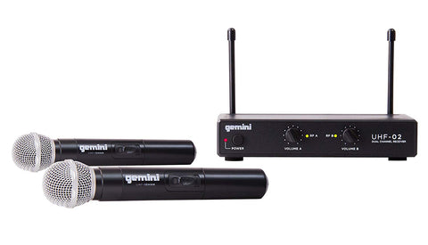 Gemini UHF Series UHF-02M-S34 Professional Audio DJ Equipment Dual Channel Wireless UHF System and Handheld Wireless Microphone with 150ft Range