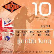Rotosound Handmade Jumbo King Phosphor Bronze Acoustic Guitar Strings JK30EL 12 String X-Light 10-48