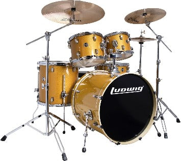 "Ludwig Element Evolution 5-piece Drum Set with Zildjian ZBT Cymbals - 22"" - Gold Sparkle"