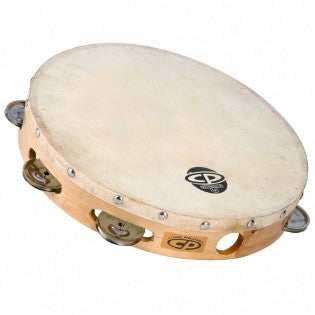 "CP379 10"" Wood Tambourine, Headed, Single Row Jingles"