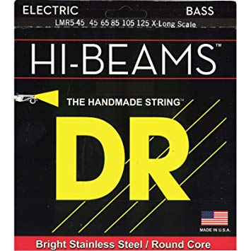 DR Hi-Beam Stainless Steel Bass Guitar Strings LMR5-45 Med 5s X-Long 45-125
