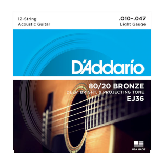 EJ36 80/20 Bronze 12-String Acoustic Guitar Strings, Light, 10-47