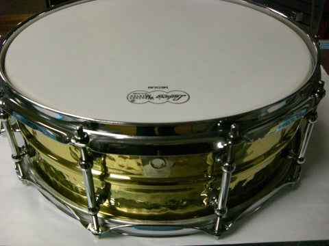 "Ludwig LB420BKT 5""x14"" Hammered Brass Snare Drum w/ Tube Lugs"