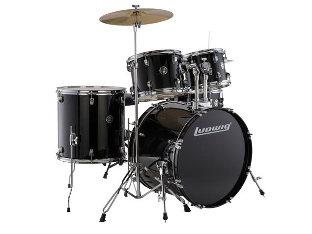 "Ludwig LC17511 Accent Drive 22"" Bass Drum 5-Piece Kit w/ Hardware, Cymbals, & Throne - Black"