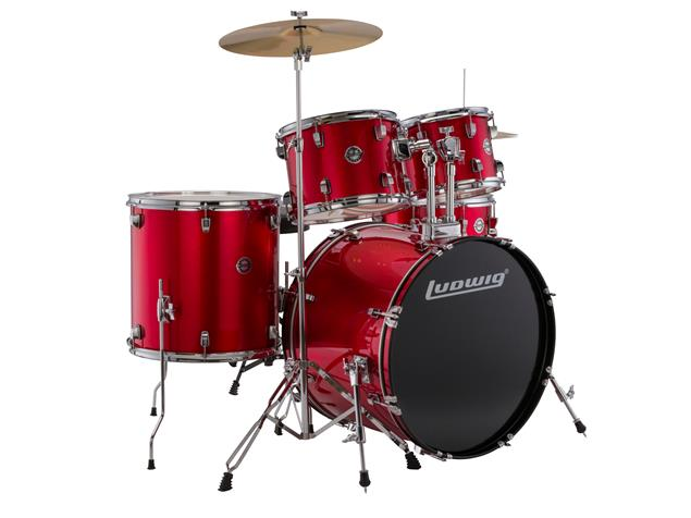 "Ludwig LC17514 Accent Drive 22"" Bass Drum 5-Piece Kit w/ Hardware, Cymbals, & Throne - Red Foil"