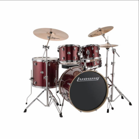 "Ludwig Element Evolution 5-piece Drum Set with Zildjian ZBT Cymbals - 22"" - Red Sparkle Finish"