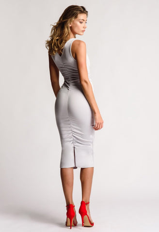 Midi Grey Dress V Neck Gathered Detail With Splits