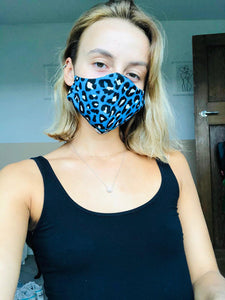 Blue Leopard Print Face Mask